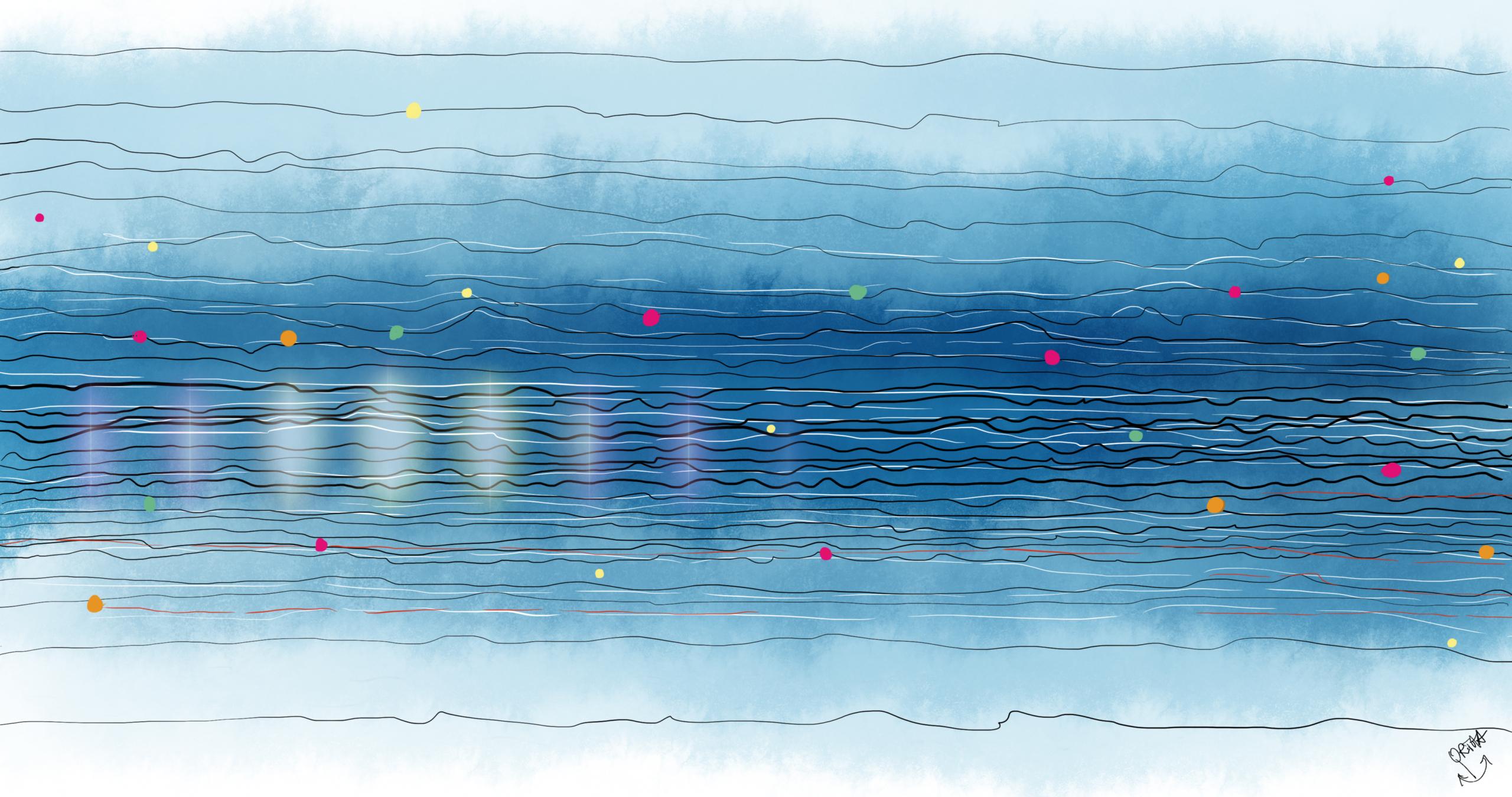 Blaue Reihe: Linien und Punkte